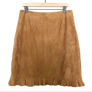 VS2 by Vakko | 100% Goat Suede Camel Leather Skirt